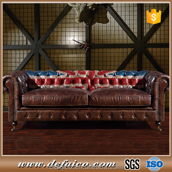 Living Room Comfort Antique Union Jack Printed Chesterfield Sofa