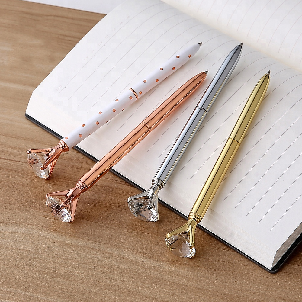 Promotional Metal Material Big Diamond Crystal metal Pen Multi Color Crystal Diamond Ballpoint Pen With Customized Logo