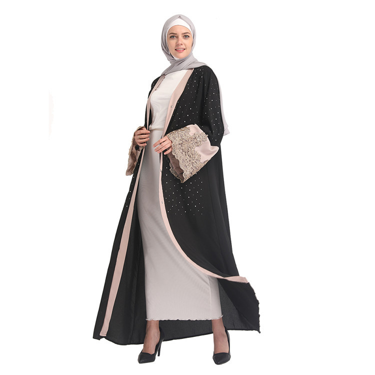 Stone High Quality Pakistan Black Pearl Fashionable Women Model Baju Muslim Modern New Design Fashion Leopard Chiffon Open Abaya