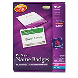 Badge Holder Kit w/Laser/Inkjet Insert, Top Load, 3 x 4, White, 100/Box, Sold as 100 Each