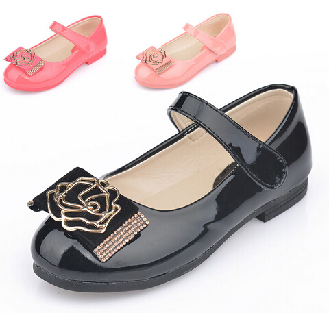 2015 fashion hot sales children shoes noble princess girls sandals spring summer patent leather kids shoes flower girls shoes