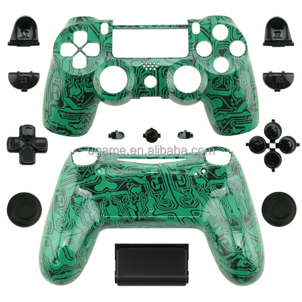 2015 New Design Green Circuit Hydro dipped Style Shell for PS4 Wireless Game Controller Replacement