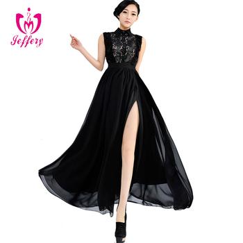 d267a972a103517 Длинное платье шифон Новый стиль вечернее платье лацкан кружева combinatoin  платье дизайн H043