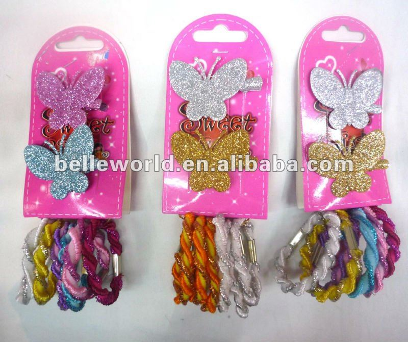 Elastic Pony w glitter butterfly alligator Snap Clip Hair Accessory Set