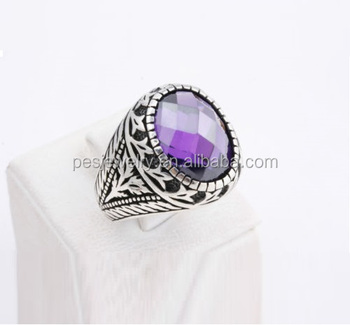 Pes Fashion Jewelry! Turkish Ottoman Style Amethyst Mens Vintage Ring  (pes6-1355) - Buy Rhodium 14k 18k White Yellow Rose Gold Plating,S925  Sterling