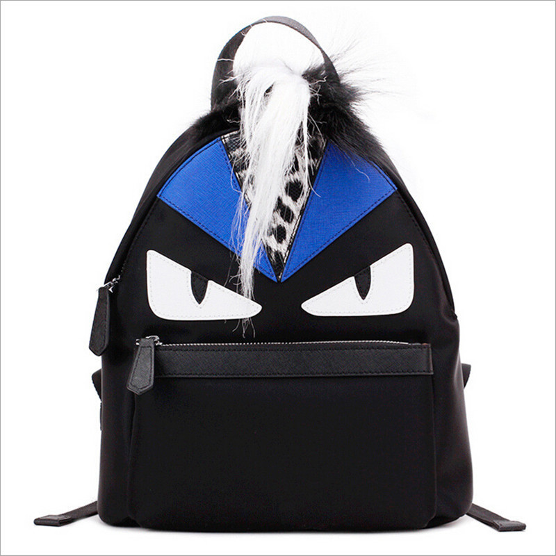 03f0ac7b21 Recommended For You. Newest Fashion Women s Famous Designer Brand Monster School  Backpack Top Quality Real Fox Fur Patch Leopard Ladies Travel Bag