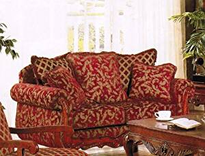 Buy Loveseat Sofa Burgundy Gold Floral Chenille Fabric In Cheap