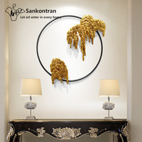 Home Decoration Welding Gold Foil Round Abstract Rockery Landscape Metal 3D Wall Sculpture Art