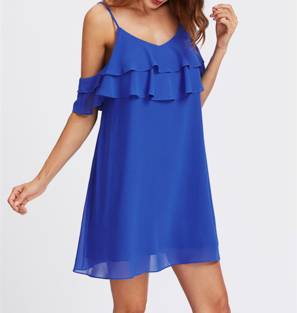 Chiffon Blue cold shoulder Tunic summer dress 2019