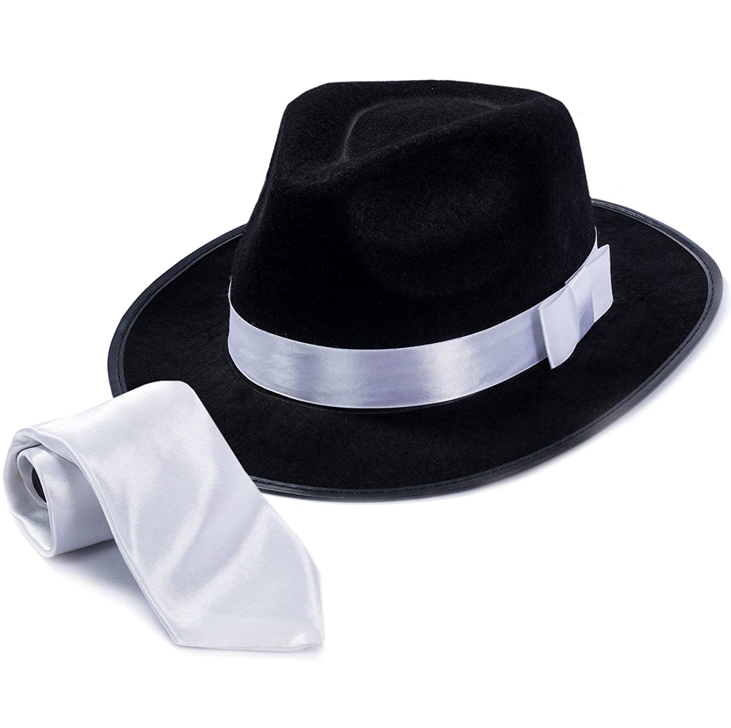 c590dbf383beb Get Quotations · Tigerdoe Fedora Gangster Hat - Mobster Costume - Felt Hat    White Neck Tie - (