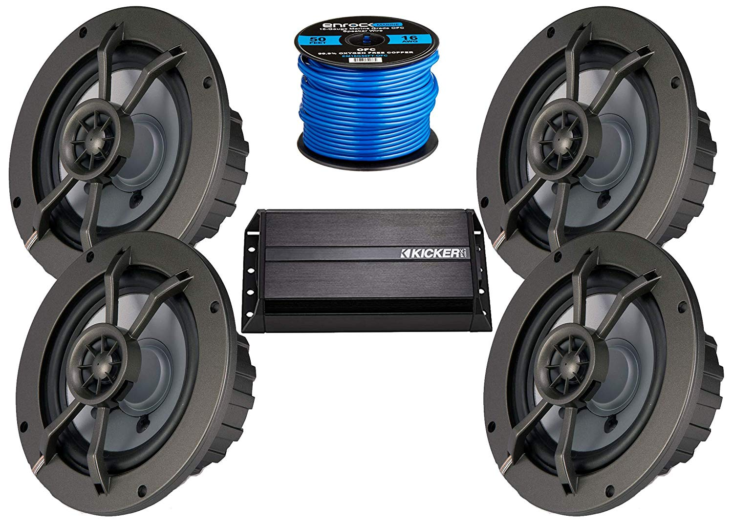 "Kicker New 2x50-Watt Full-Range Bluetooth Stereo Amplified Controller, 4X 4 Marine Coaxial 2-Ohm Speakers w/ 1/2"" Tweeters, Enrock Marine 50 Ft 16-G Tinned Speaker Wire"