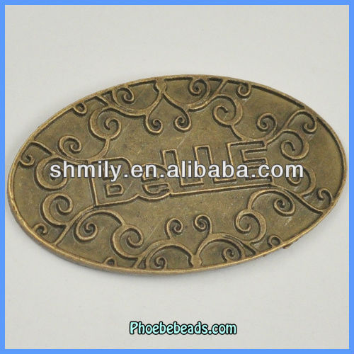 "Wholesale Antique Brass Pendants ""Belle"" Engraved Ellipse Shaped A17930"