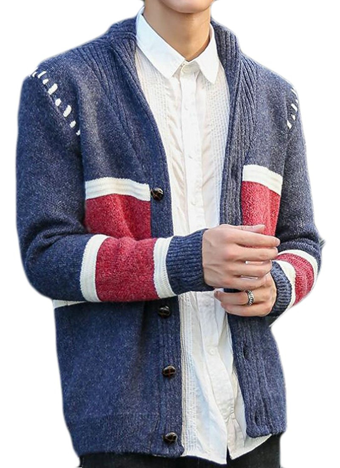 CBTLVSN Mens Casual Long Sleeve V-Neck Front Button Knitted Sweater Cardigan