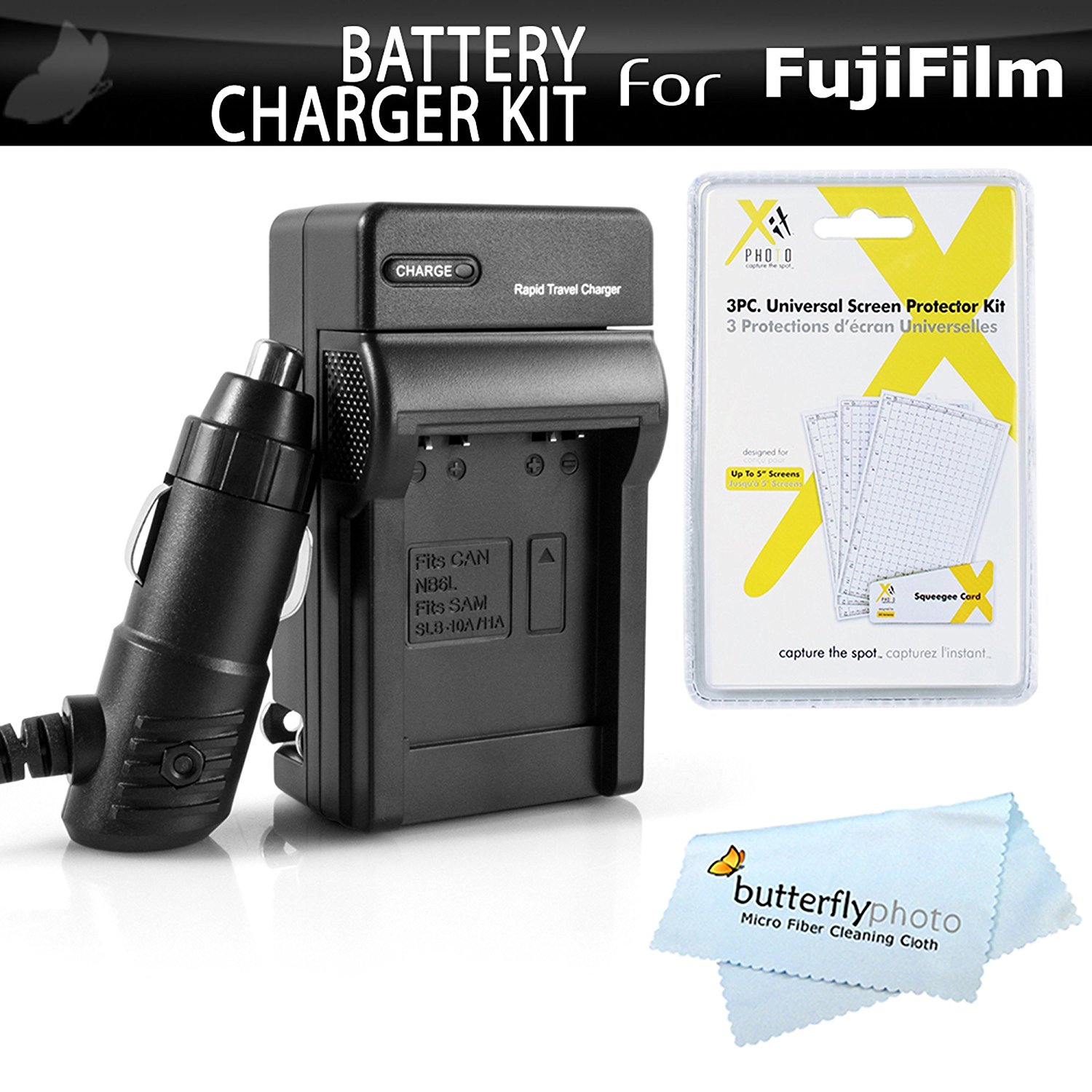 Battery Charger Kit For Fuji Fujifilm FinePix HS30EXR, X-Pro1, X-Pro2, HS33EXR, Fujifilm X-E1, X-M1, X-A1, X-E2, HS50EXR, X-T1, X-A2, X-T10, X-A3, X-T2, X-T1 IR Digital Camera Includes Rapid Travel Charger For Fuji NP-W126, NP-W126s Battery
