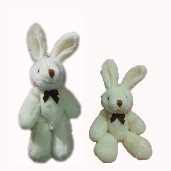 <H=13cm 40pcs/lot> Plush Mini Rabbit Bow Joint Bare Hare Bouquet/Phone/Bag Plush Animal Toys Dolls Plush Pendant Color Beige