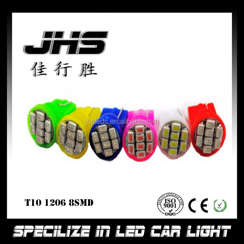 Car Led Autos Tube Bulb Light T10 W5W 194 501 1206 8SMD white yellow blue red green pink T10 led bulb