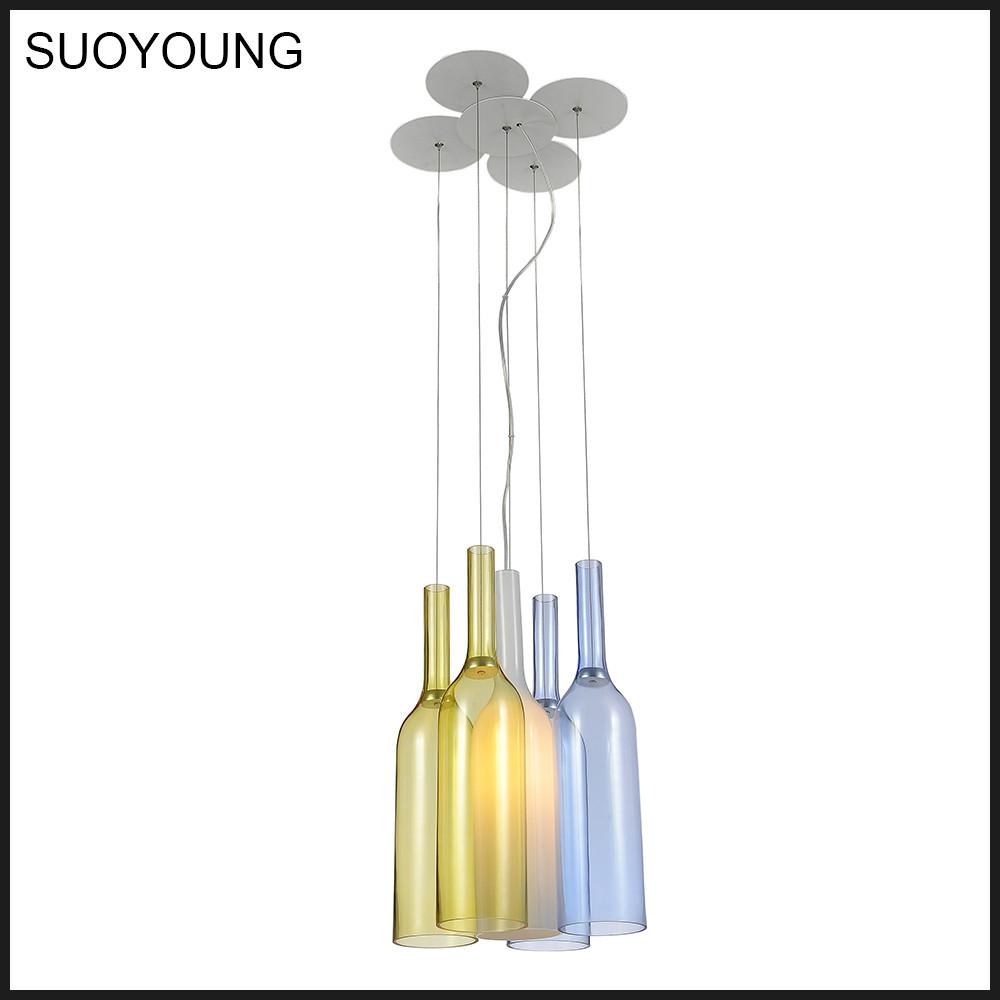 Multi couleur bouteille en verre design moderne suspension lumières colorées lampes md8060 5