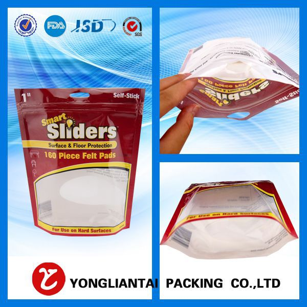 stand up frozen food packing bags with clear window made from Yongliantai