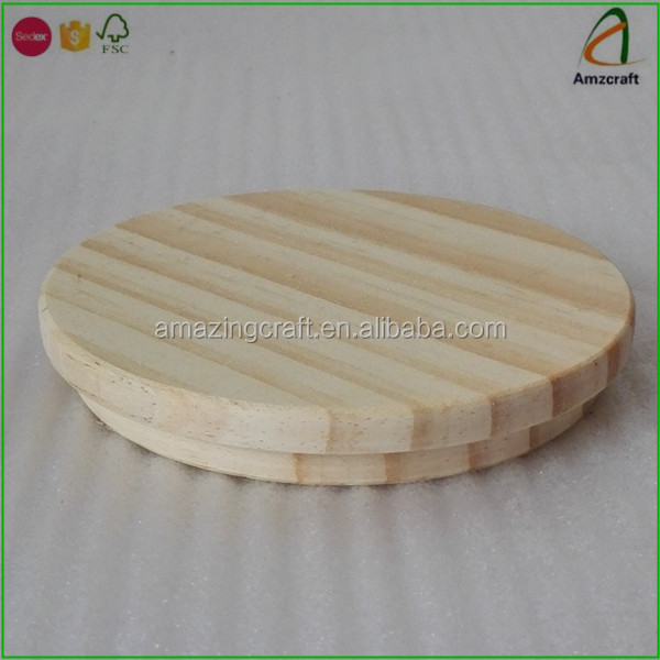 Unfinished Eco-friendly Pine Wood Wooden Cup Lid Cover,Great for Coffee Cup Lid