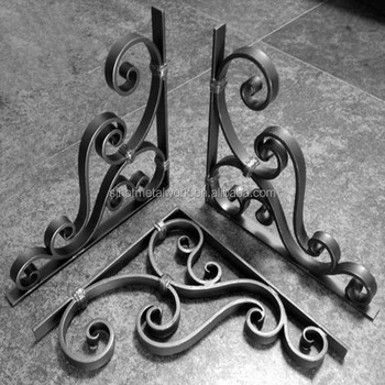 Steel Countertop Brackets Decorative Wrought Iron Triangle Corner Reinforcing Bracket Support Metal
