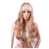 Factory Wholesale High Quality Long Wave Ombre Color Sythetic Wigs with Neat Bang