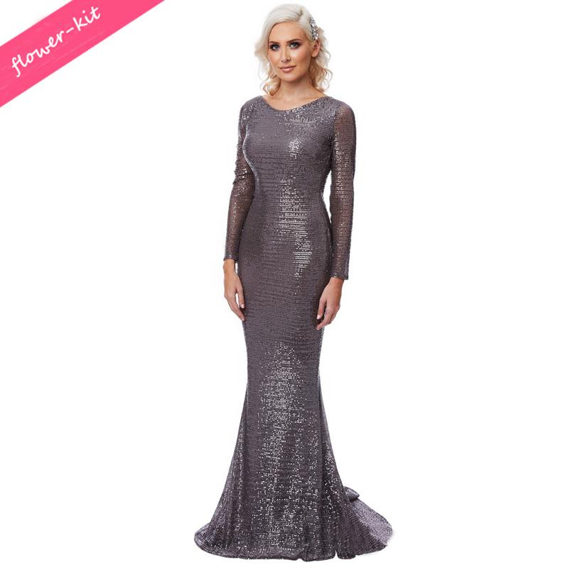 08b2df0fb27292 Kostenloser Versand Sexy Backless Pailletten Kleider Langarm Mermaid  Pailletten Maxi Kleid Bodenlangen Abendkleid Party Kleid Kleid