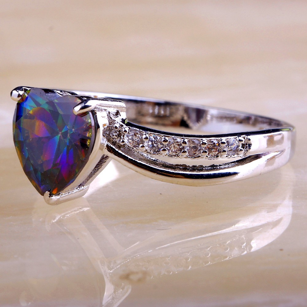 austrian rings color rainbow ring wedding steel beautiful jewelry stainless with zircon crystal