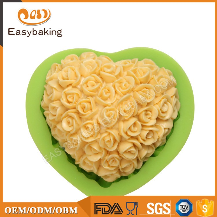 ES-1514 Love heart with flower Silicone Molds for Fondant Cake Decorating