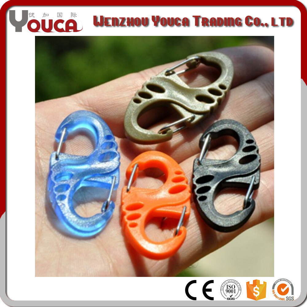 Chinese Supplier PVC Handbag Rigging Aluminum Alloy 8 Shape Carabiner Key Chain Clip Outdoor Hiking Aluminum Snap Bag Hook