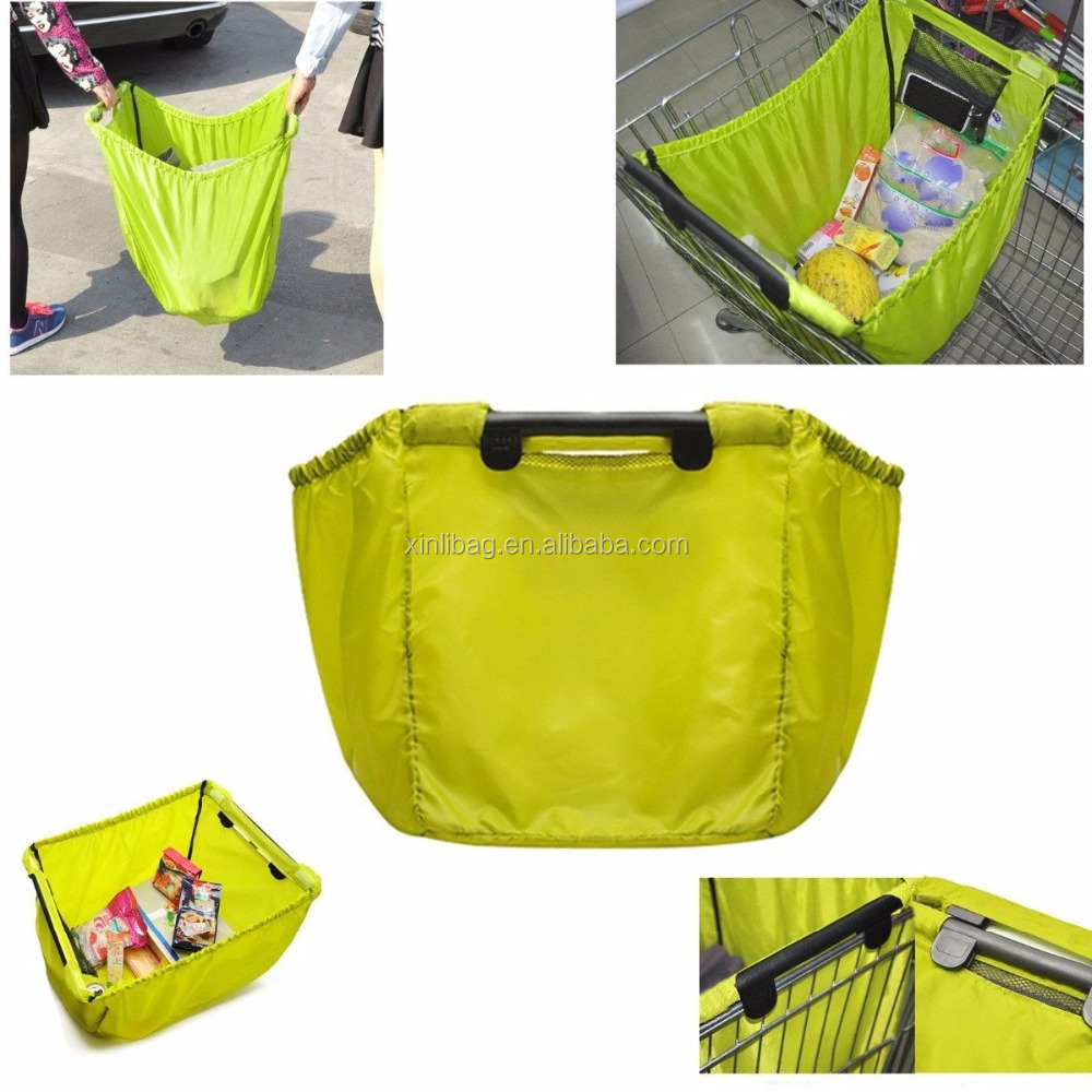 China Suppliers Green Waterproof Nylon Foldable Grocery Storage Bags supermarket shopping bags