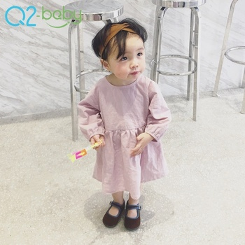 2019  OEM ODM korean style baby clothing 100% cotton o-neck children princess dresses, solid color kid dress for 0-3 years old