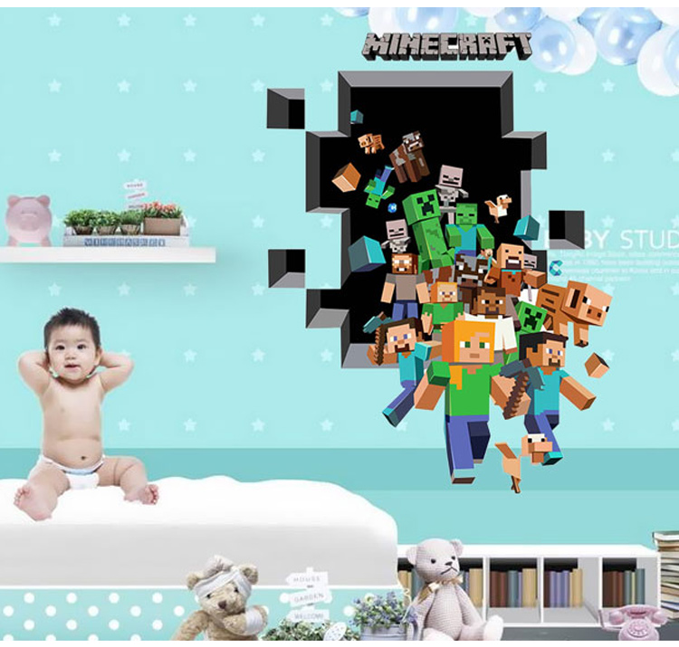 minecraft mur d cor promotion achetez des minecraft mur d cor promotionnels sur. Black Bedroom Furniture Sets. Home Design Ideas