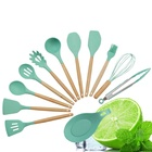 2020 suppliers sale premium nonstick home bbq silicone custom 12 pcs accessories wooden kitchen utensil spoons cooking tool set