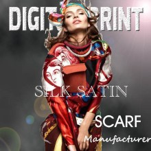 Customized Colourful silk Digital scarf print in Top Quality -Y