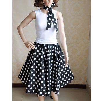 8806b10d761 Fashionable Retro Style 100% cotton dancing swing jive rockabilly dress  white dot rotating skirt women
