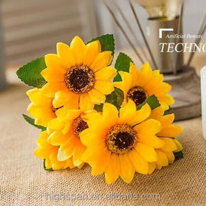 Rural style 22 heads wedding flowers artificial fabric sunflower bouquet