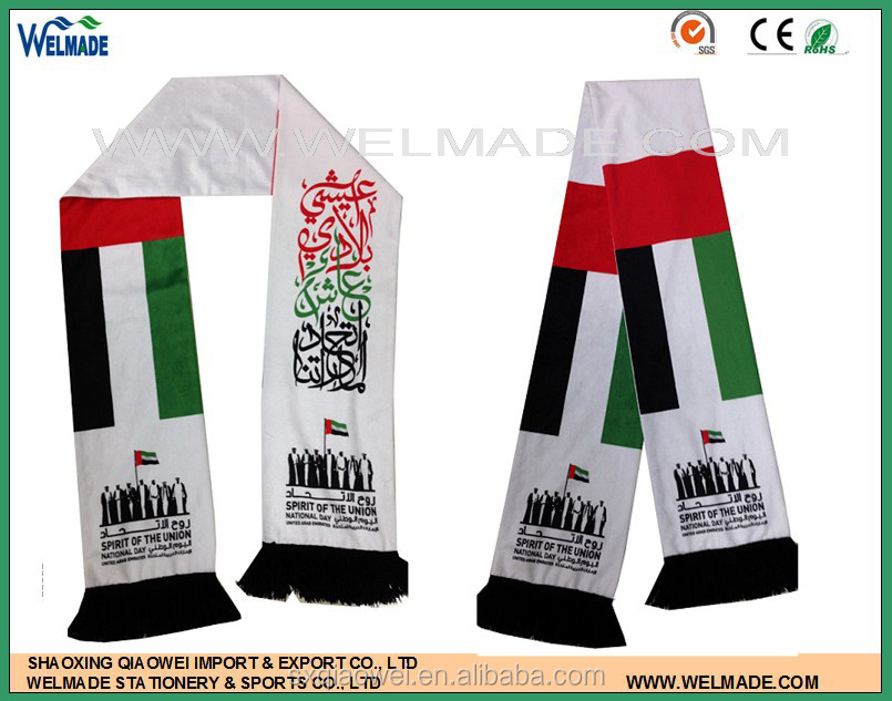 high quality of UAE national day scarf, UAE flags print scarf, cheap scarvise