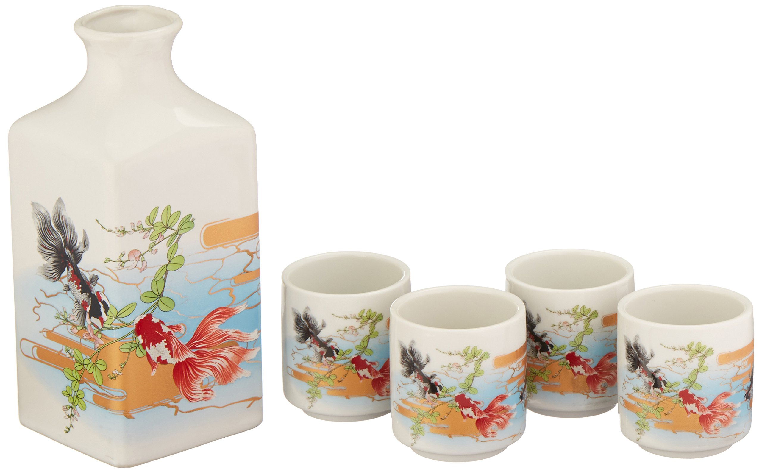 9f9d9accee Get Quotations · Happy Sales 5 Piece Japanese sake Set Goldfish
