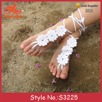 489a2f1c8a92 S3225 New Design Handmade White Flower Beach Bride Wedding Barefoot Sandals  - Buy Barefoot Sandals