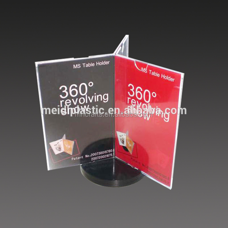 360 degree acrylic rotate sign holder 3-sided acrylic rotate table tent : 3 sided table tents - memphite.com