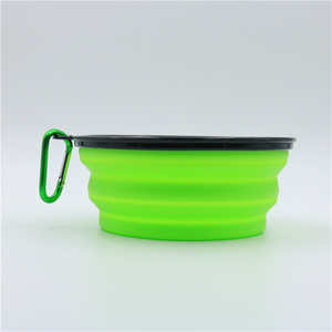Extra large Blue and Green Free Carabiner Foldable Expandable Cup Dish for Pet Dog/Cat Feeding Travel Bowl