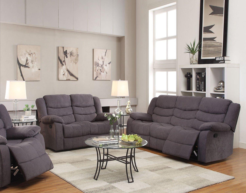 Get Quotations · 1PerfectChoice Jacinta 2Pcs Gray Velvet Motion Sofa Set  Loveseat