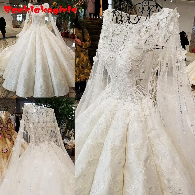 O Neck Wedding Dress Rhinestone Appliques White Lace Latest Decent