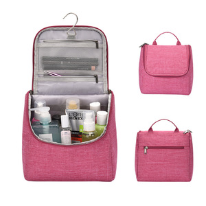 Mini Portable Big Capacity Toiletry Storage Makeup Bag Compartment Boxes Hanging Hook Cosmetics Travel Makeup Bag Train Case