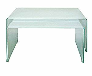 Neos Modern Furniture Creative Images International Nesting Collection 2 Piece Bent Glass Nesting Coffee Table Set, Extra White