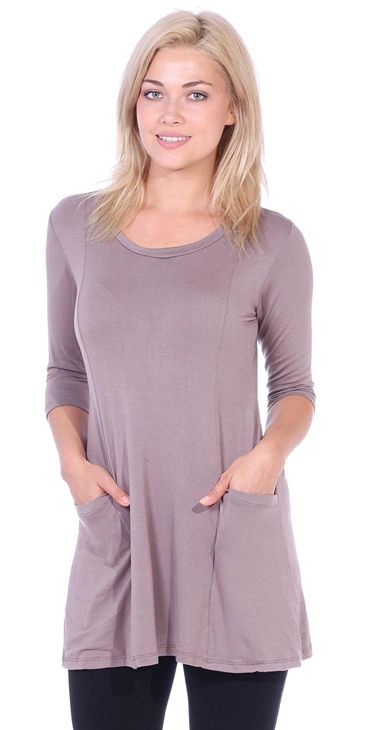 ff9c245bdb33 Get Quotations · Popana Women s Tunics With Pockets - Loose Fit Round Neck  Tunic Top To Wear With Leggings