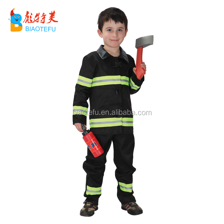 carnival party kids brave fireman cosplay costume fire fighter role play uniform costumes for children