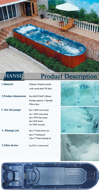 Hs Sp08m Length Outdoor Aquatic Swim Spa Swimming Pool View Swimming Pool Hanse Product