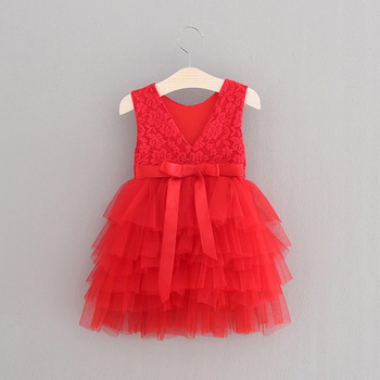 2017 red sleeveless frock baby dresses high quality kids christmas party dresses