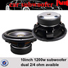 Dual 2Ohm Max power 1200W/Rms Power 2400W JLD High quality SPL 10 inch Car Audio Subwoofer made in Chinese OEM factory